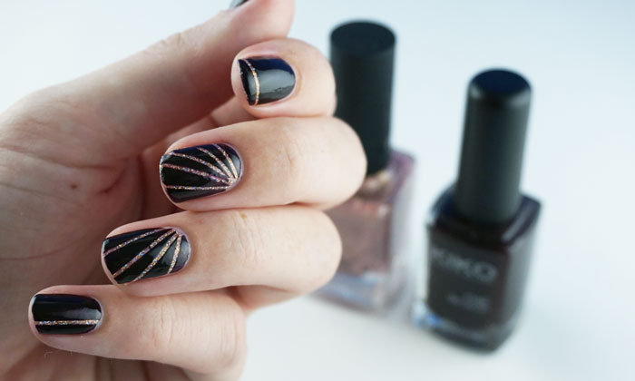 The final nail art with striping tape. In the background showing ILNP that other girl and Kiko 227