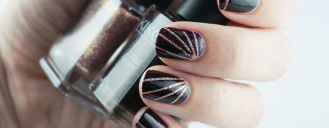 Nails that are painted using striping tape