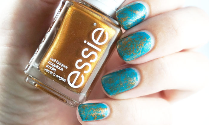 Nails with saran wrap nail art in turquoise and bronze