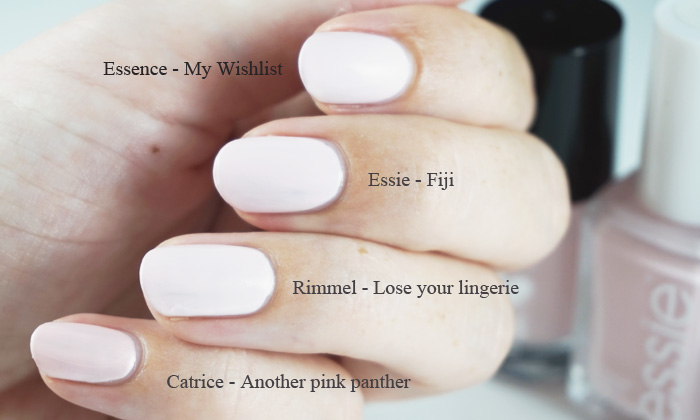 Comparison of Essence - My wishlist, Essie - Fiji, Rimmel Lose your lingerie and Catrice another Pink panther