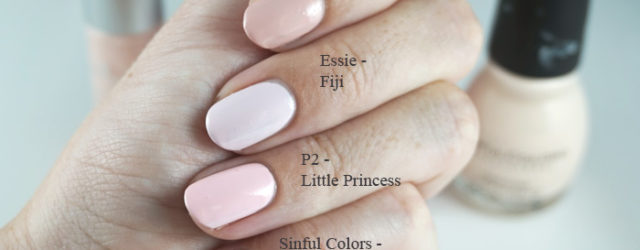 Comparison of Essence-Rosy in love Essie - Fiji, P2 little princess and Sinful colors easy going