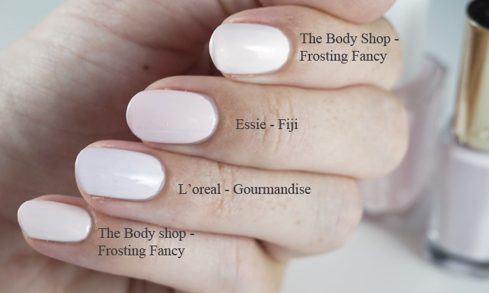 Comparison of The body shop frosting fancy, L'oreal gourmandise and Essie Fiji