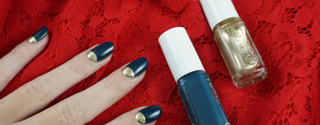 christmas nail art with essie getting groovy and satin sister