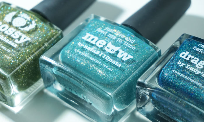 the bottle of picture polish mossy, picture polish meow and picture polish dragonfly aligned