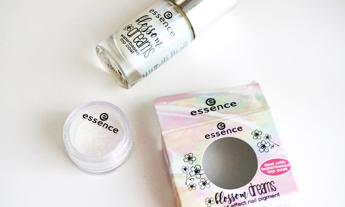 Bottle of Essence blossom dreams waterbased top coat and effect nail pigment
