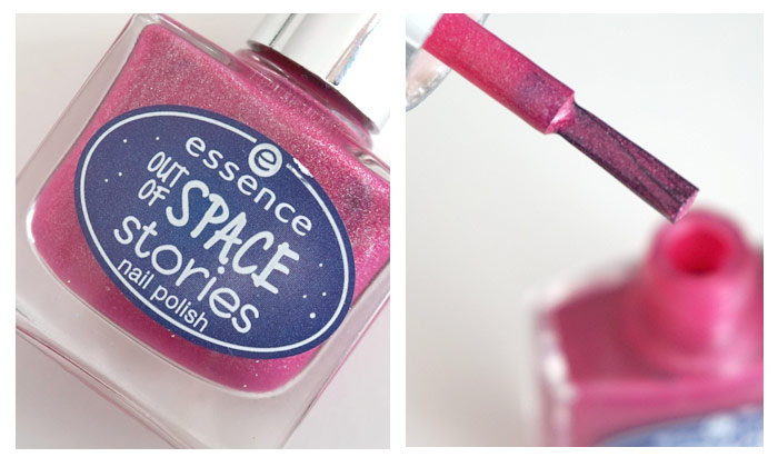 Collage of the bottle of Essence beam me up! and the brush