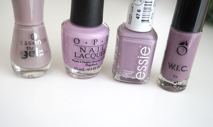 Comparison of essie ciao effect to other shades; Essence Tip Top Taupe, OPI Purple Palazzo Pants and Herome Milan