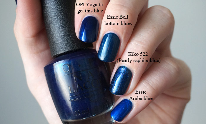 Comparison of OPI yoga-ta get this blue with Essie bell bottom blues, Essie aruba blue and Kiko522