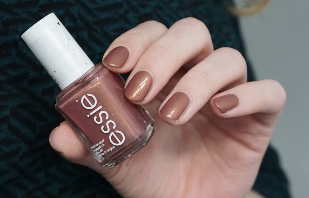 Swatch of Essie teacup half full from the Spring 2019 collection